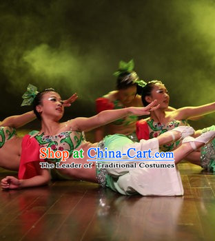 Chinese Stage Performance Peacock Dance Costumes Complete Set for Kids and Women