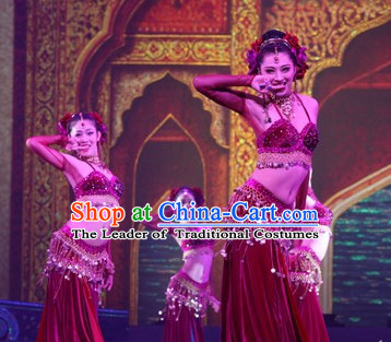 Chinese Stage Performance Arabian Dance Costumes Complete Set for Women
