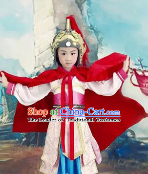 Traditional Chinese Han Dynasty Hua Mulan Costumes Dress Chinese Hanfu Clothing Cloth China Attire Oriental Dresses Complete Set for Kids