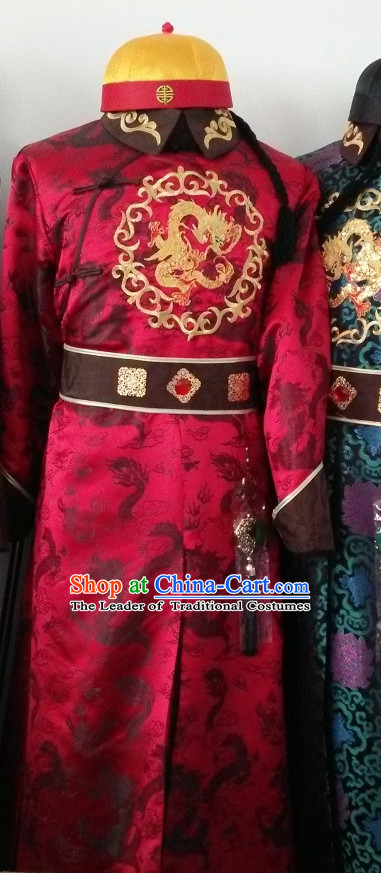 Traditional Chinese Qing Dynasty Prince Emperor Robe Gown Clothing and Hat Complete Set for Men