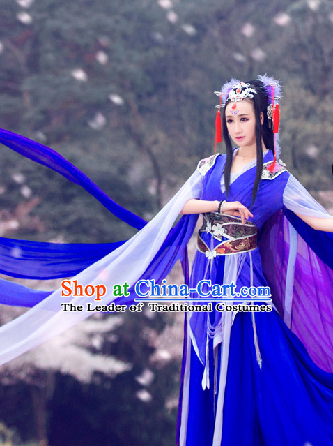 Chinese Traditional Dress Clothing Hanfu National Costumes China Gown Wear and Hair Accessories Complete Set