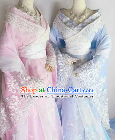 Chinese Traditional Fairy Dress Clothing Hanfu National Costumes China Gown Wear and Hair Accessories Complete Set