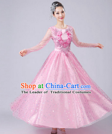Pink Chinese Dance costume Dance Classes Uniforms Folk Dance Traditional Cultural Dance Costumes Complete Set