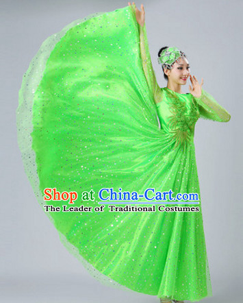 Green Chinese Dance costume Dance Classes Uniforms Folk Dance Traditional Cultural Dance Costumes Complete Set