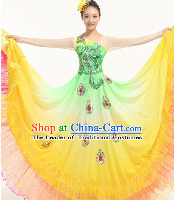 Peacock Chinese Dance costume Dance Classes Uniforms Folk Dance Traditional Cultural Dance Costumes Complete Set
