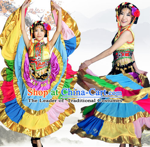 Chinese Xinjiang Folk Dance Ethnic Wear China Clothing Costume Ethnic Dresses Cultural Dances Costumes Complete Set