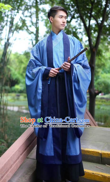 Chinese Traditional Clothing Hanfu Clothes Complete Set for Men