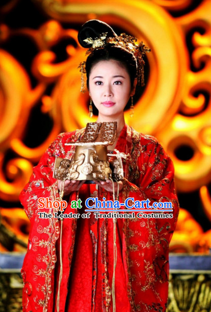 Ancient Chinese Imperial Palace Empress Queen Princess Garment Clothing and Hair Jewelry Complete Set for Wome