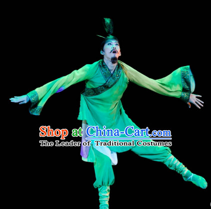 Chinese Classical Dancing Red Chamber Jia Baoyu Romantic Youth Dance Costumes and Headpieces Complete Set for Men