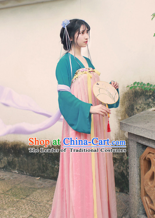 Traditional Chinese Tang Dynasty Musician Clothes Blouse Skirt and Hair Jewelry Complete Set for Women
