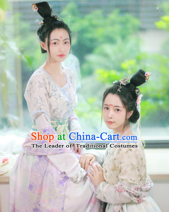 Traditional Chinese Tang Dynasty Clothing Dresses Skirt and Hair Jewelry Complete Set for Women