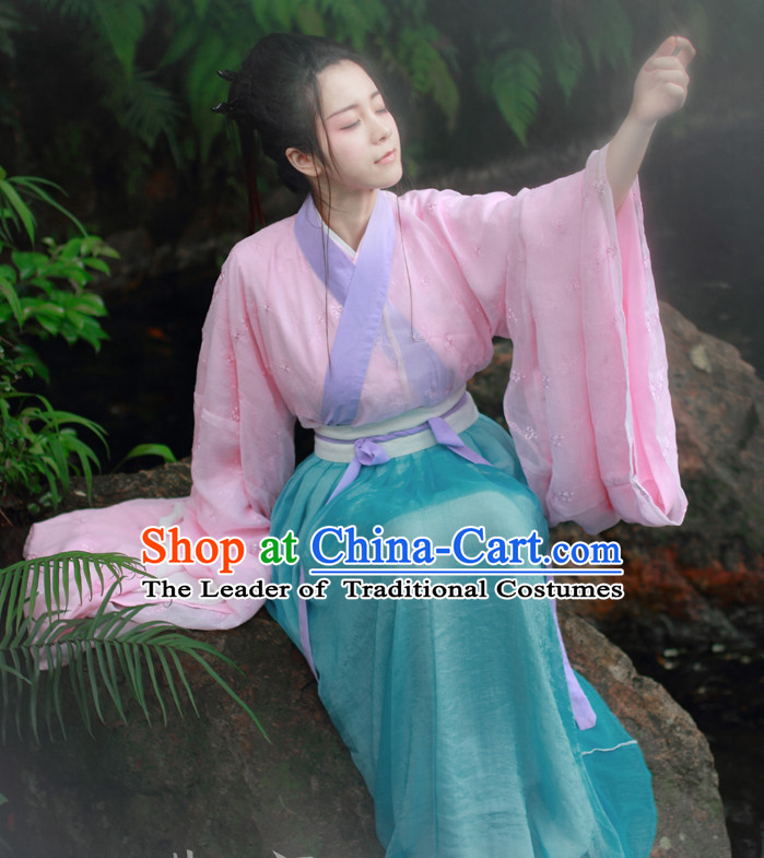 Traditional Chinese Han Dynasty Hanfu Suit Clothing Dresses Skirt and Hair Jewelry Complete Set for Women