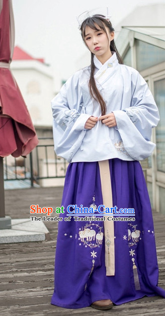 Traditional Chinese Ancient Ming Dynasty Hanfu Suits Dresses Skirt and Hair Jewelry Complete Set for Women