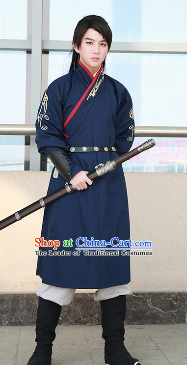 Traditional Chinese Ancient Han Dynasty Knight Scholar Garment Suits Dresses Complete Set for Men