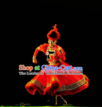 Chinese Ethnic Mongolian Dance Costume Folk Dancing Costumes Traditional Chinese Dance Costumes Asian Dance Costumes Complete Set for Women