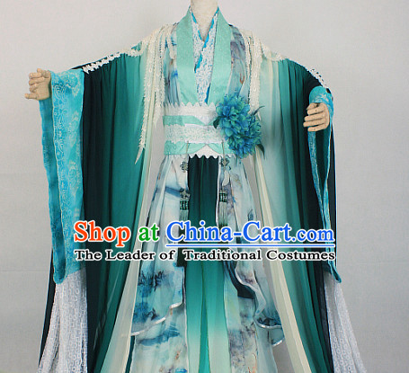 Green Ancient Chinese Style Fairy Beauty Cosplay Garment Costumes Clothing for Women