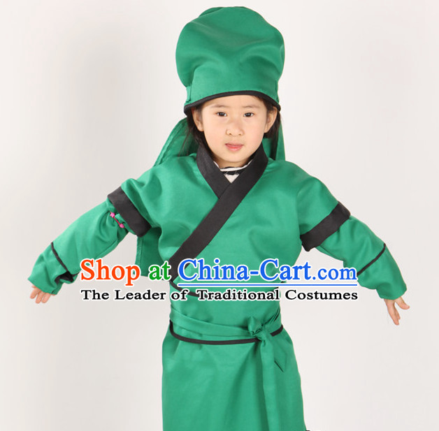 Ancient Chinese Style Guan Gong Superhero Costumes Clothing and Hat for Kids