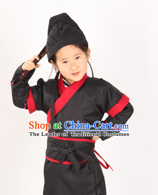 Ancient Chinese Style Zhang Fei Superhero Costumes Clothing and Hat for Kids