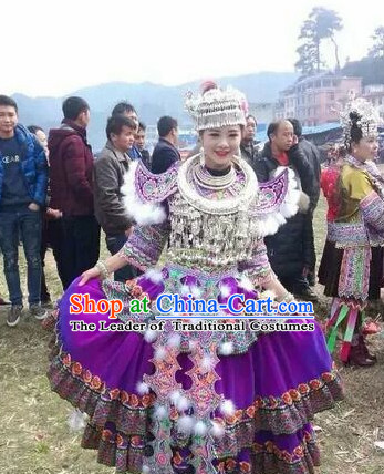 Chinese Miao Folk Dance Dress Clothing Dresses Costume Ethnic Dancing Cultural Dances Costumes for Women Girls