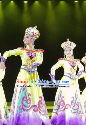 Chinese Mongolian Folk Dance Dress Clothing Dresses Costume Ethnic Dancing Cultural Dances Costumes for Women Girls