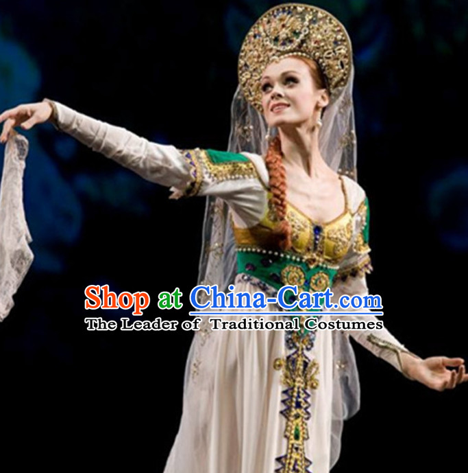Russian Queen Dance Dress Clothing Dresses Costume Ethnic Dancing Cultural Dances Costumes Complete Set for Women