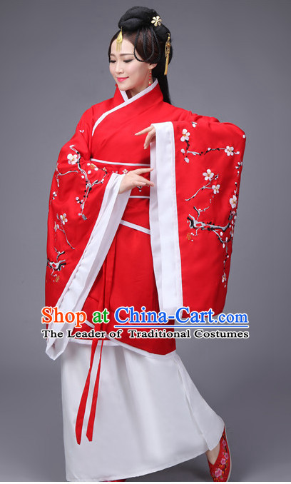 Red Chinese Traditional Han Fu Costumes Complete Set