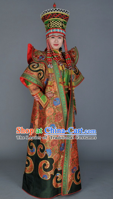 Custom Made Ancient Chinese Style TV Drama Film Ethnic Mongolian Clothing and Hairpieces Complete Set
