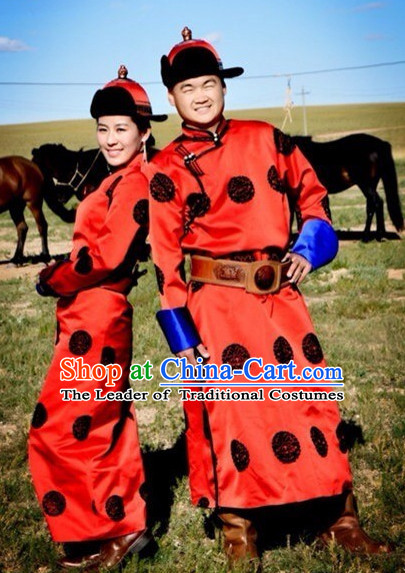 Traditional Mongolian Clothing Ancient Ethnic Wedding Dresses and Hat Complete Set for Women or Men