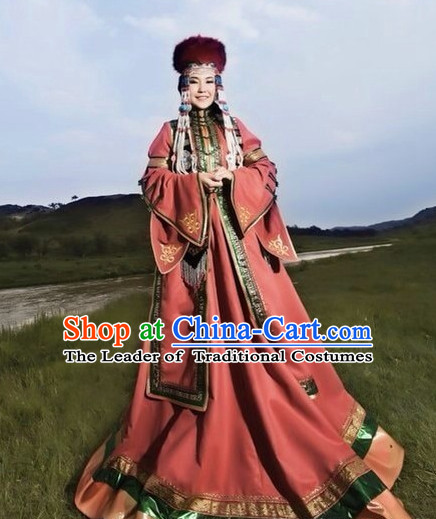 Traditional Chinese Mongolian Empress Garment Clothing Complete Set for Women