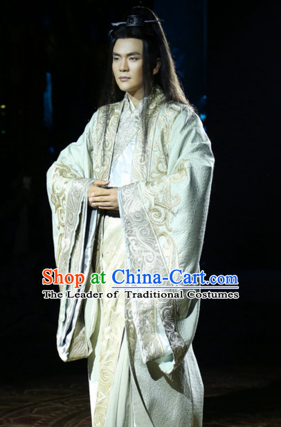 Ancient Chinese Traditional Hanfu Clothing and Hair Accessories Complete Set for Men