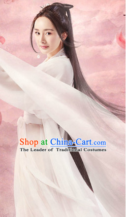 Ancient Chinese White Fairy Costumes and Hair Accessories Complete Set for Women Girls Kids Adults