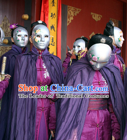 Ancient Chinese Warrior Knight Costumes and Mask Mantle Complete Set