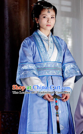 Ancient Chinese Nirvana in Fire TV Drama Superheroine Costumes Clothing and Hair Pieces Complete Set