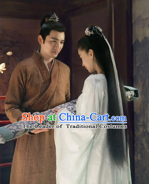 Ancient Chinese Handsome Men Hanfu Han Fu Clothing and Mantle Complete Set