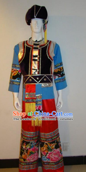 Chinese Traditional Ethnic Costumes Clothing and Hat Complete Set
