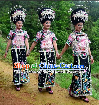 Chinese Miao Ethnic Clothing Minority Clothing Cultural Costumes Complete Set for Women