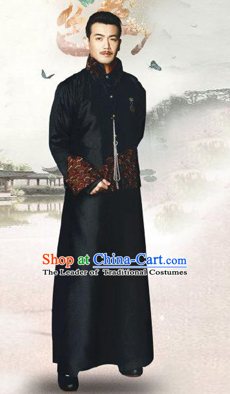 Top Chinese Minguo Clothing Theater and Reenactment Costumes Mandarin Chinese Clothes Complete Set for Men