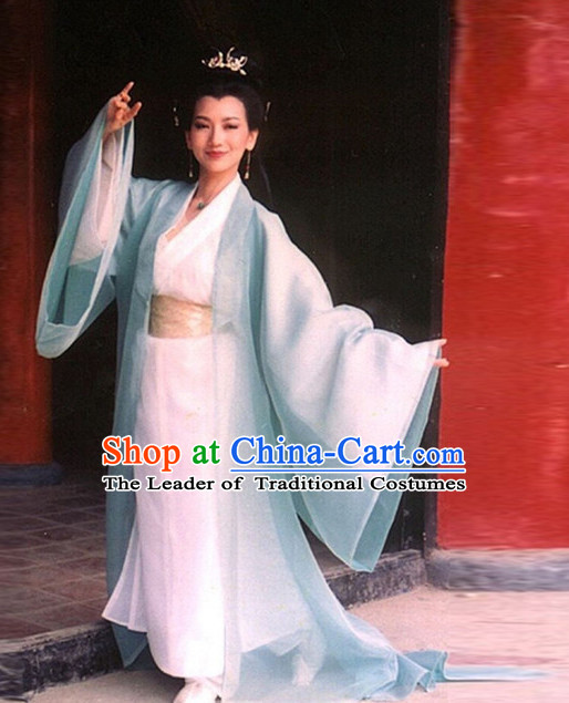 Ancient Chinese TV Drama White Snake Film Women's Clothing & Apparel Chinese Traditional Dress Theater and Reenactment Costumes and Coronet Complete Set