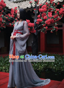 Chinese Ancient Han Fu Princess Clothing Robes Tunics Accessories Traditional China Clothes Women Adults Kids
