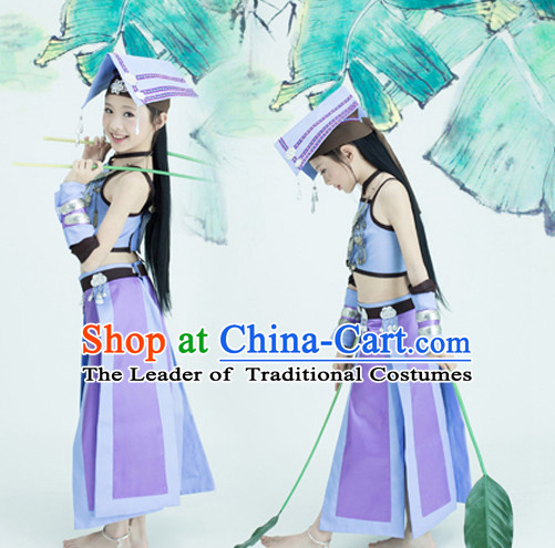 Chinese TV Drama Beauty Costume Ancient Theatrical Costumes Historical Clothing and Hair Jewelry Complete Set for Kids