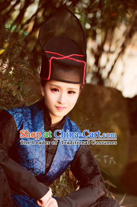 Traditional Chinese Male Black Hat for Men