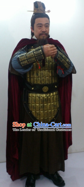 Ancient Chinese General Armor Costumes and Coronet Complete Set for Men