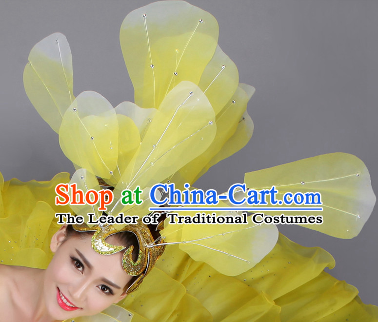 Yellow Chinese Dance Hair Accessories Headpiece Headdress Phoenix Crown Hair Decoration Head Hairpin Accessories Comb Wedding Headwear Hair Accessorie Head Dress