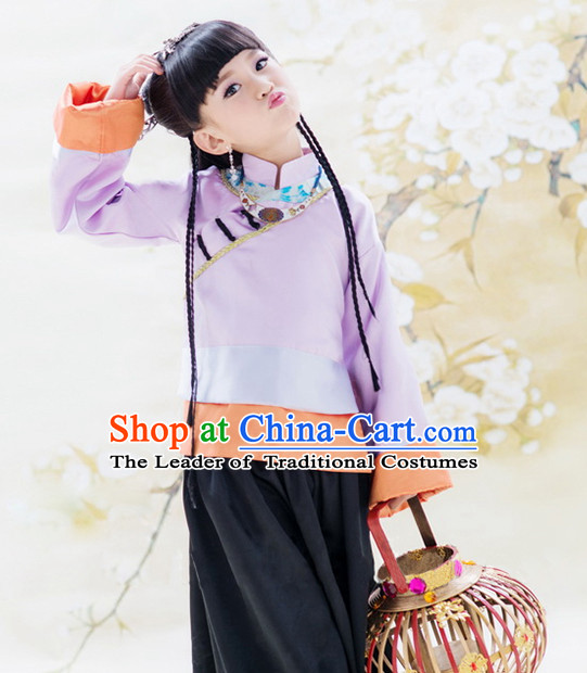 Traditional Chinese Costume Chinese Classical Clothing Garment and Headpieces Complete Set for Kids Girls
