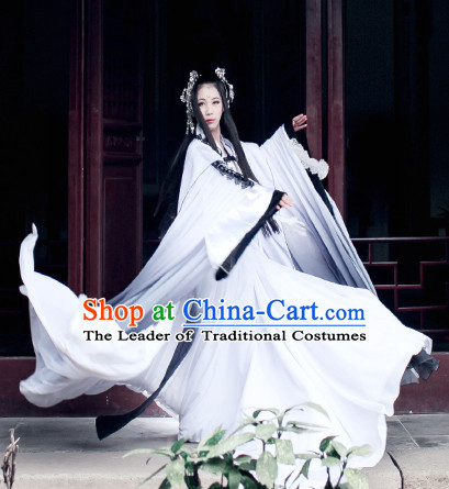 Top White Black Chinese Imperial Royal Princess Traditional Wear Queen Dresses Fairy Cosplay Costumes Ideas Asian Cosplay Supplies Complete Set