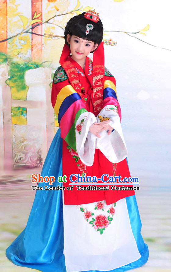Traditional Korean Clothes Classical Dress National Costumes Complete Set for Kids Children Girls