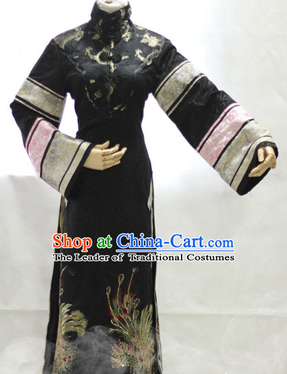 Mandarin Collar Minguo Style Long Robe Hanzhuang Han Fu Han Clothing Traditional Chinese Dress National Nezha Costume Complete Set for Women or Girls