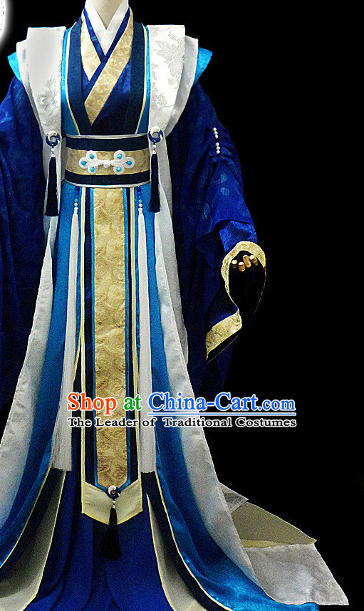 Blue Ancient Chinese Chancellor Hanfu Costumes High Quality Chinese National Costumes Complete Set for Men