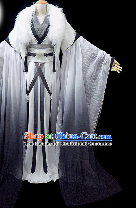 White Black Ancient Chinese Chancellor Garment Hanfu Costumes High Quality Chinese National Costumes Complete Set for Men
