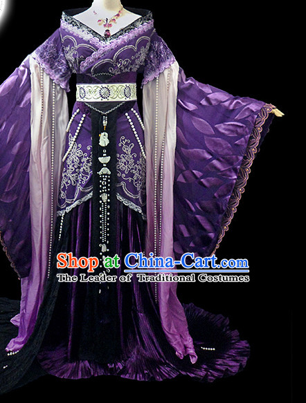 Purple Ancient China Princess Garment Traditional Imperial Queen Costumes High Quality Chinese Empress National Costumes and Accessories Complete Set for Women